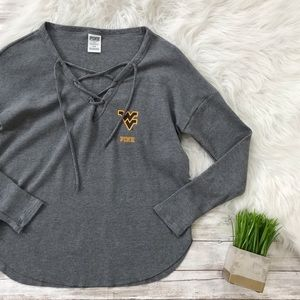 PINK West Virginia Mountaineers Lace Up Thermal T